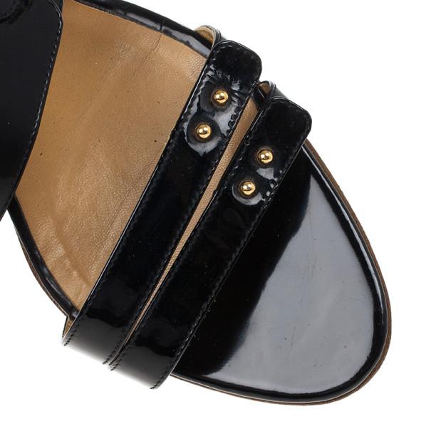 Hermes Black Patent Mules Size 38.5