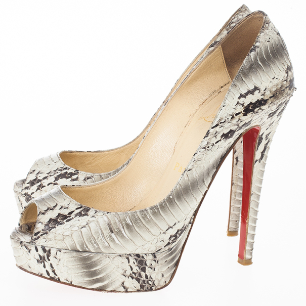 louis vuitton mens shoes - christian louboutin platform pumps Brown and tan python peep toes ...