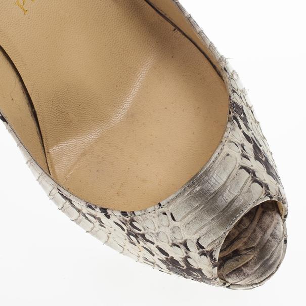 Christian Louboutin Python Lady Peep Toe Platform Pumps Size 37