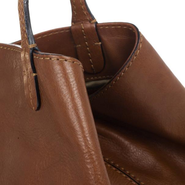 Valentino Brown Leather Rockstud Va Va Voom Tote Bag