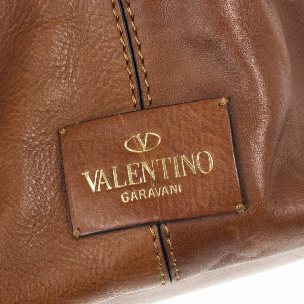 Valentino Brown Leather Rockstud Va Va Voom Tote Bag