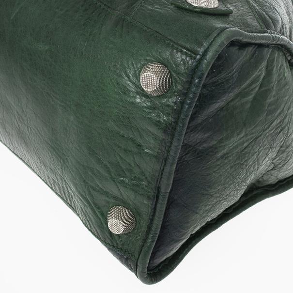 Balenciaga Green Lambskin Giant Work