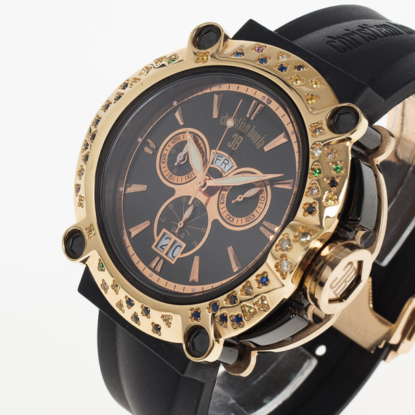 Christina Bonja Black Gold-Plated Steel Panther Women's Wristwatch 48MM