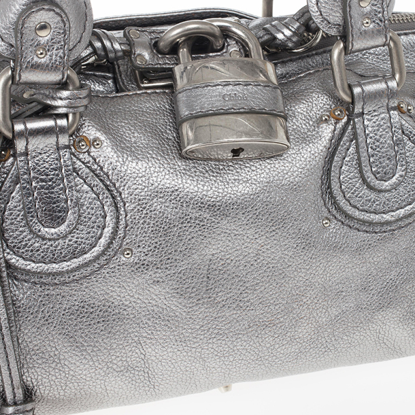 Chloe Silver Leather Paddington Satchel