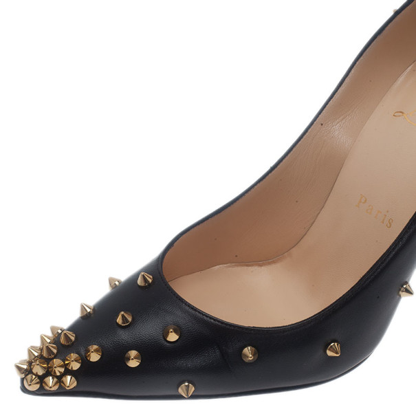 Christian Louboutin Black Leather Degraspike Pumps Size 38