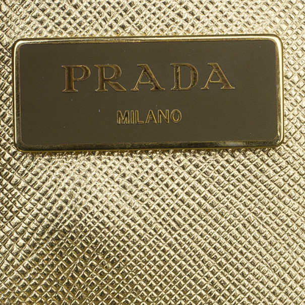 Prada Metallic Gold Saffiano Lux Small Tote