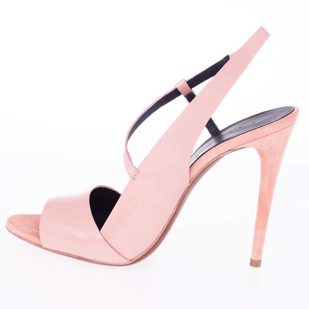 Balenciaga Pink Leather Neo Manhattan Slingback Sandals Size 40