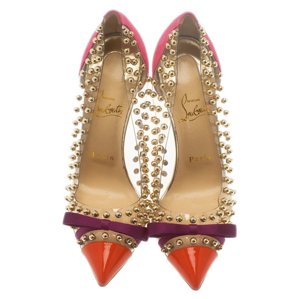 Christian Louboutin Studded PVC Bille Et Boule Bow Pumps Size 38