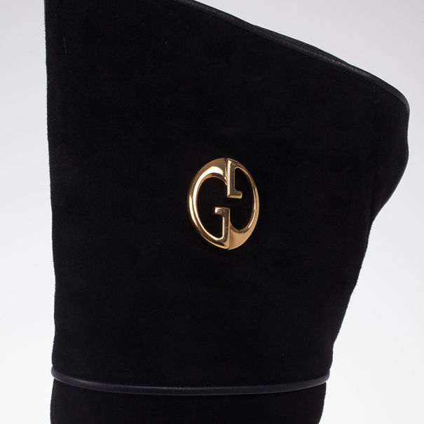 Gucci Black Suede GG Over The Knee Boots Size 37