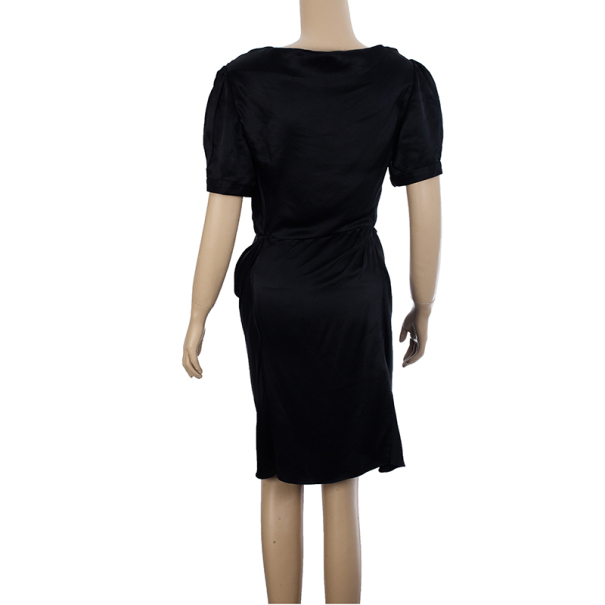 Balenciaga Black Satin Dress S