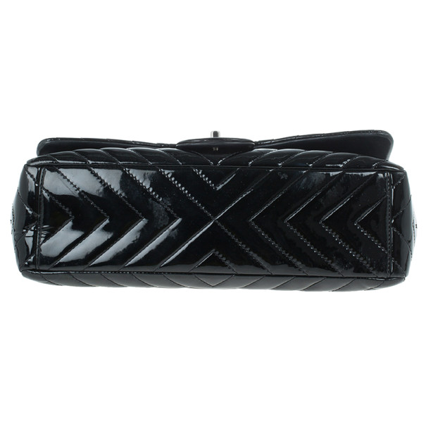 Chanel Black Patent Leather Quilted Jumbo Chevron Flap Bag