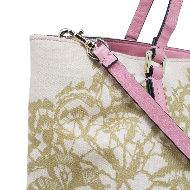 Valentino Beige/Pink Canvas Lace Print Tote