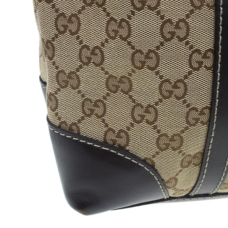 Gucci Beige Monogram Canvas Small lovely heart interlocking G tote