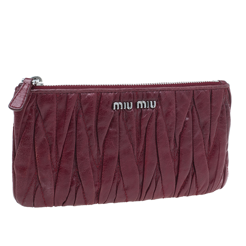Miu Miu Red Matelasse Leather Wallet