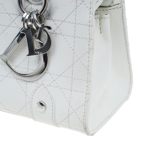 Dior White Leather Lady Dior East/West Satchel