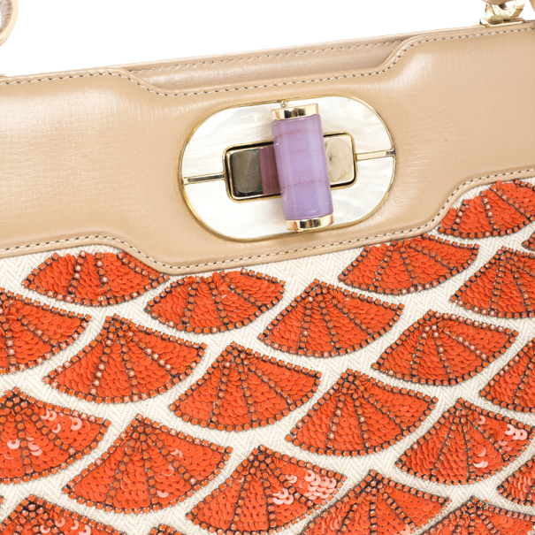 Bvlgari Coral Beaded Leather Isabella Rossellini Tote