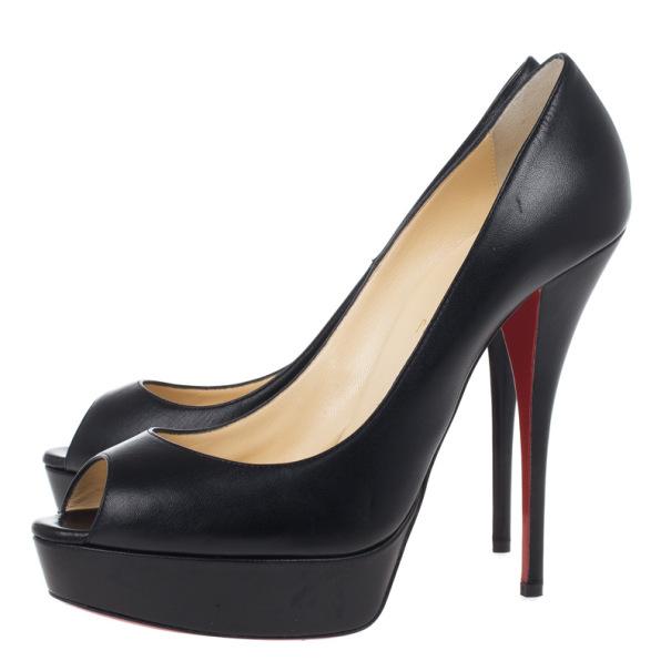 Christian Louboutin Black Leather Lady Peep Platform Pumps Size 41