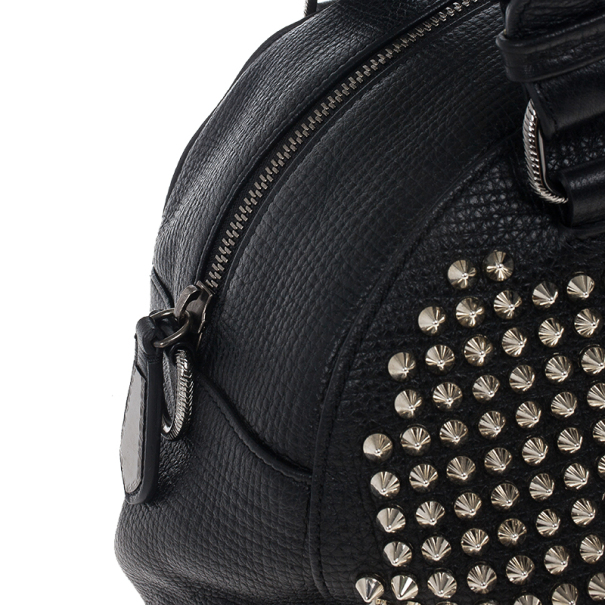 Christian Louboutin Panettone Spiked Black Leather Satchel
