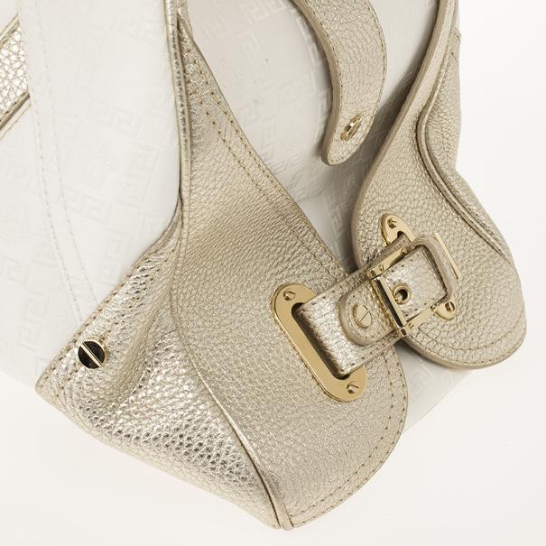 Versace Jumbo White Logo Jacquard Bowler Bag