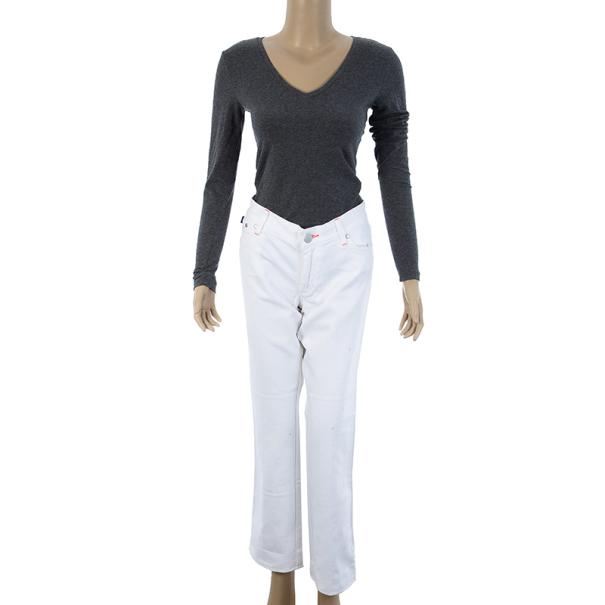 Victoria Beckham Orange Stitch White Jeans M