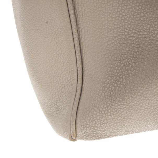 Prada Grey Vitello Daino Leather Shopper Tote