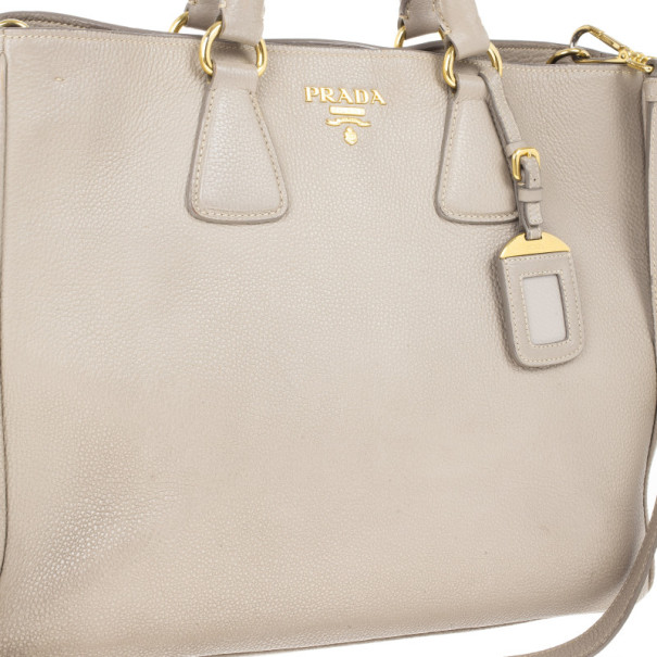 Prada Grey Vitello Daino Leather Shopper Tote