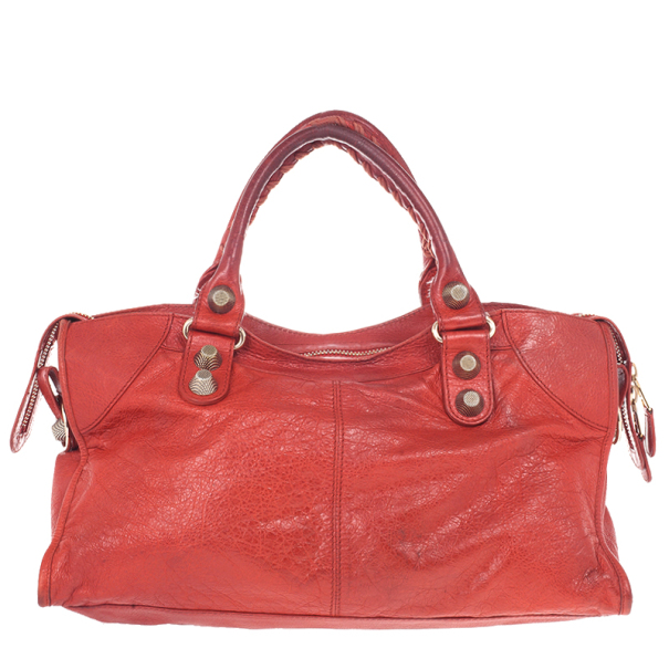 Balenciaga Red Lambskin Giant Part Time