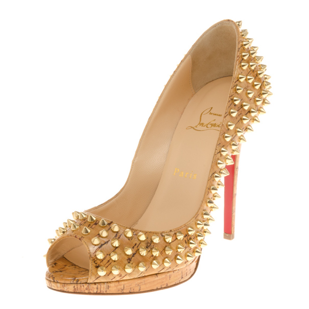 756a8ba99c41e ... coupon for christian louboutin yolanda cork patent spike peep toe pumps size  40. nextprev.