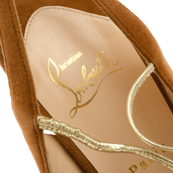 Christian Louboutin Brown Suede 'Alta Spritney 140' Platform Slingback Sandals Size 40