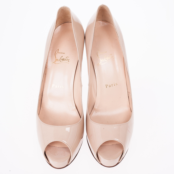 Christian Louboutin Nude Patent Leather Very Prive Peep Toe Pumps Size 40