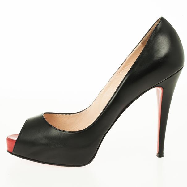 Christian Louboutin Black Leather Very Prive Peep Toe Pumps Size 40