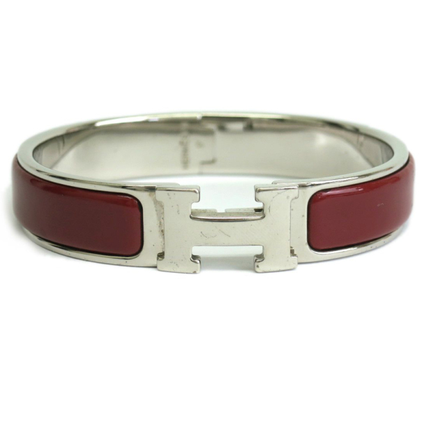 Hermes Clic Clac H Burgundy Enamel Palladium Plated Bracelet PM