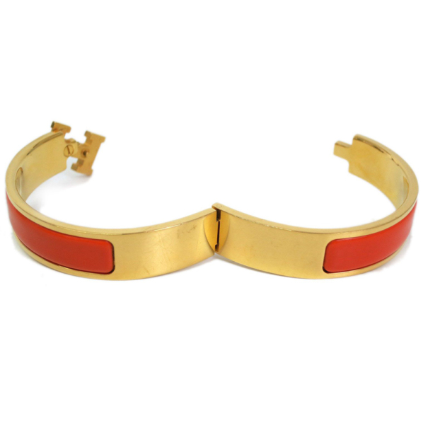 Hermes Clic Clac H Orange Enameled Gold Plated Bracelet