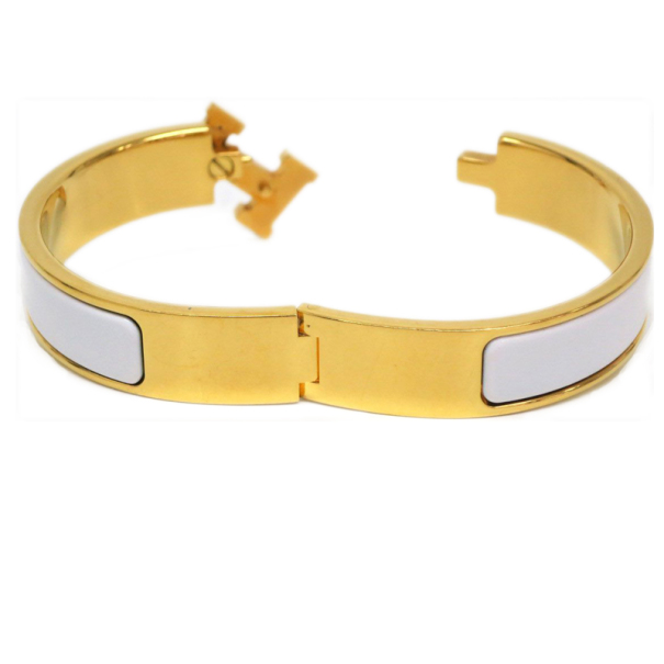 Hermes Clic Clac H White Enameled Gold Plated Bracelet PM