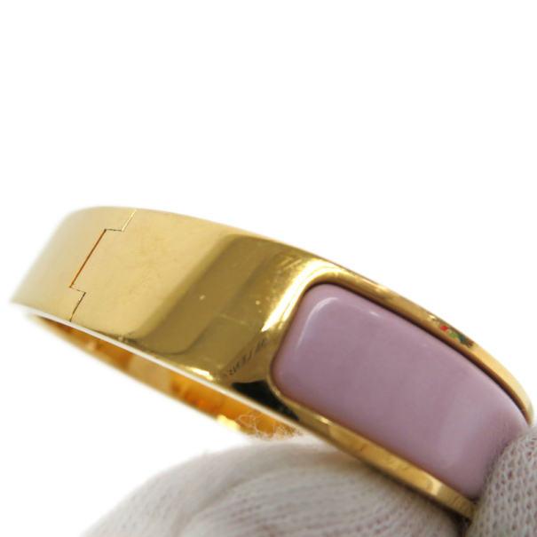 Hermes Clic Clac H Pink Enamel Gold Plated Bracelet PM