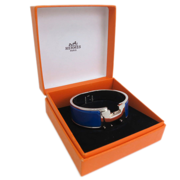 Hermes Clic H Royal Blue Enamel Palladium Plated Wide Bracelet