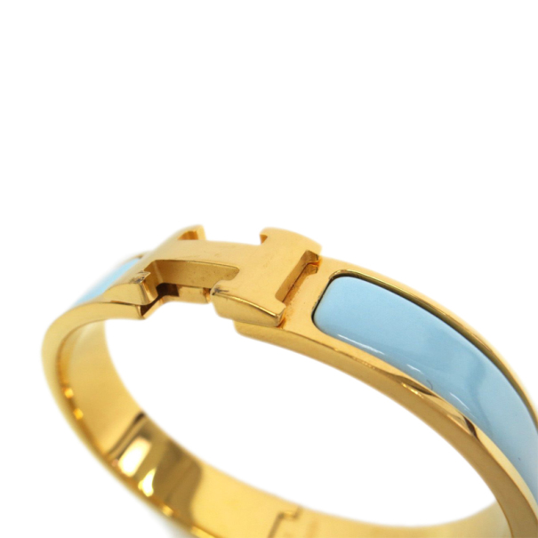 Hermes Clic Clac H Blue Enameled Gold Plated Bracelet PM