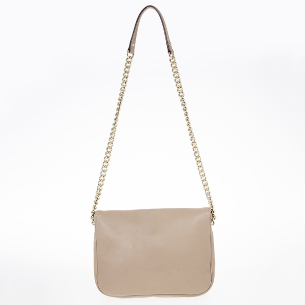 Carolina Herrera New Baltazar Beige Flap Bag