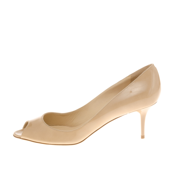 Jimmy Choo Nude Patent Isabel Peep Toe Pumps Size 39