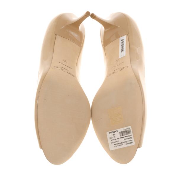Jimmy Choo Nude Patent Isabel Peep Toe Pumps Size 39
