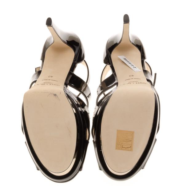 Jimmy Choo Black Patent Kuki Platform Sandals Size 40