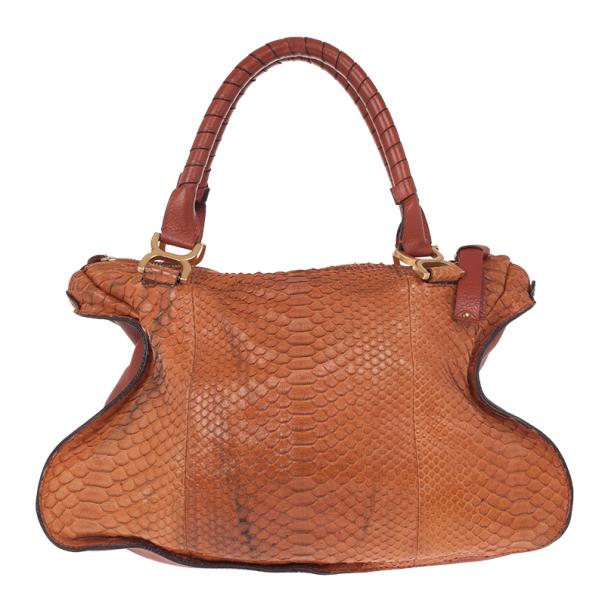 Chloe Camel Large Marcie Python Bag