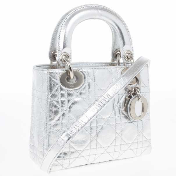 Christian Dior Metallic Silver Micro Lady Dior Bag