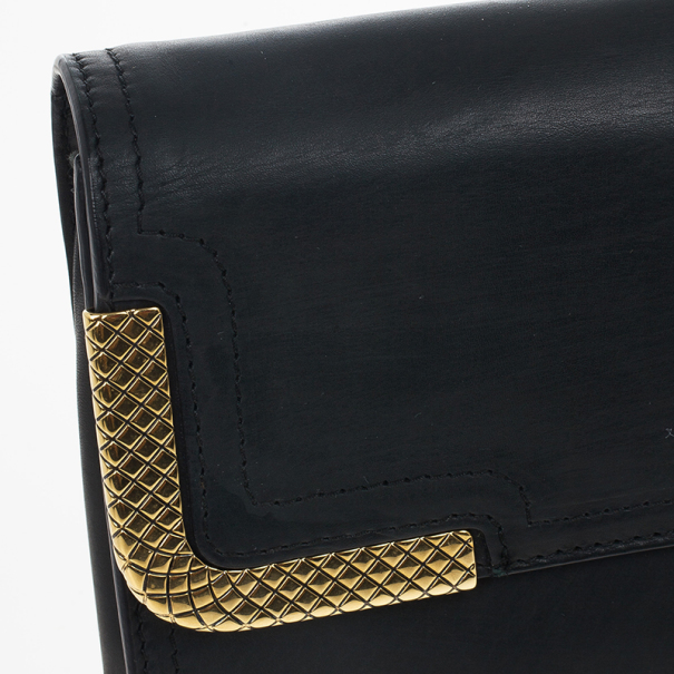Bottega Veneta Black Waxed Leather Clutch