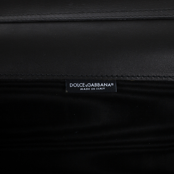 Dolce and Gabbana Lace-Print Patent Leather Clutch