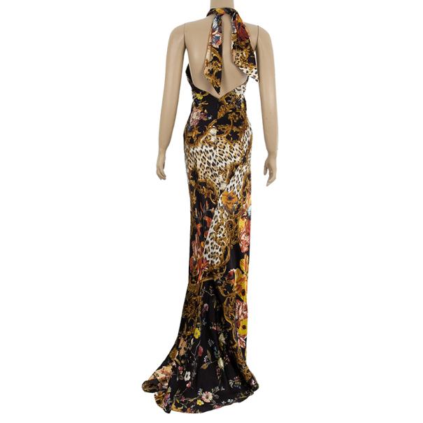 Roberto Cavalli Floral Print Halter Neck Dress Size S