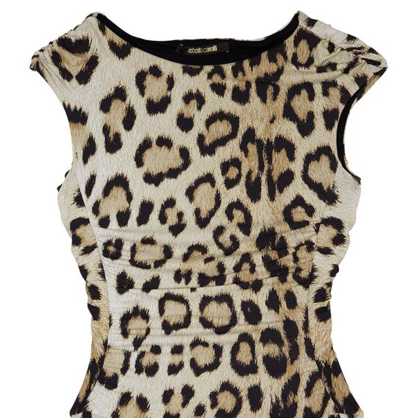 Roberto Cavalli Cut Out Leopard Print Stretch Maxi Dress M