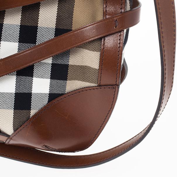Burberry Brown Dutton Check Canvas Shoulder Bag