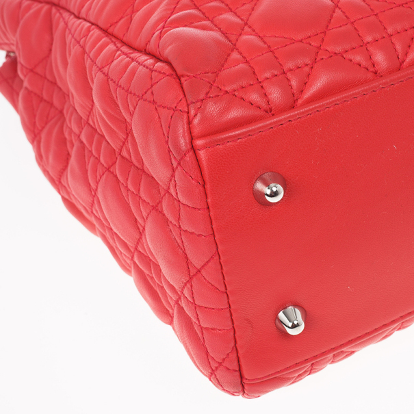 Dior Soft Bright Pink Cannage Lady Dior Shopper Tote