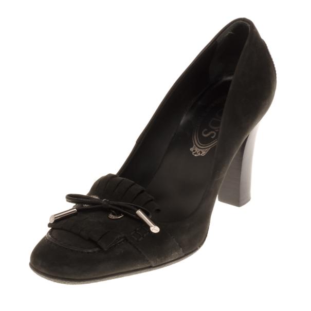 Tod's Dark Grey Suede Fringe Jodie Pumps Size 37.5